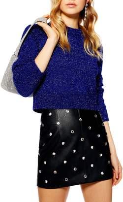 Topshop Metallic Crop Sweater