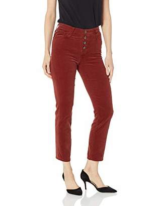 AG Adriano Goldschmied Women's Corduroy Isabelle High-Rise Straight Crop Button Up