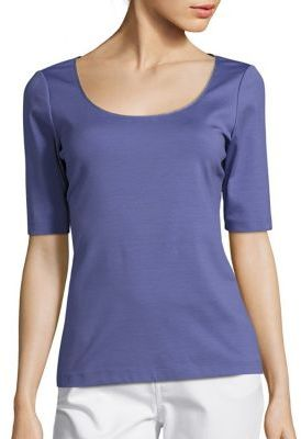 Lafayette 148 New York Chain Detail Scoopneck Tee $248 thestylecure.com