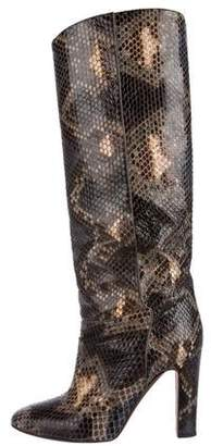 Valentino Snakeskin Knee-High Boots
