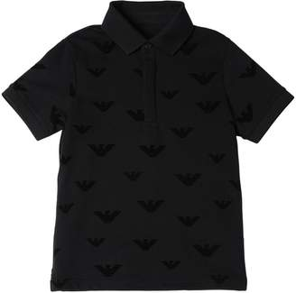 Emporio Armani Logo Flocked Cotton Piqué Polo Shirt