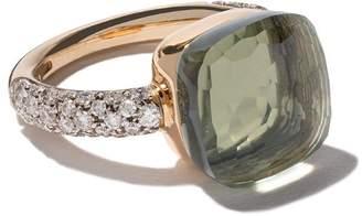Pomellato ヌード プラシオライト&ダイヤモンド リング 18Kローズ&ホワイトゴールド