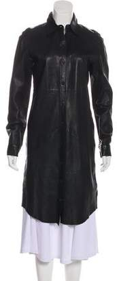 Edun Leather Knee-Length Coat