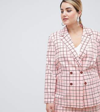 Unique 21 Hero Plus Unique21 Hero Plus Longline Double Breasted Blazer In Pink Check Co-Ord