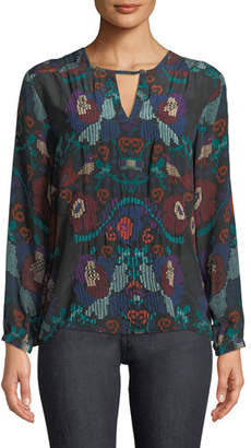 Tolani Caitlyn Long-Sleeve Multicolor Embroidered Blouse, Plus Size