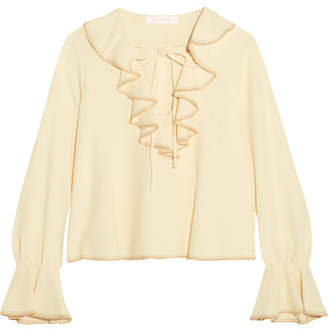 See by Chloé - Ruffled Crepe Blouse - Off-white $345 thestylecure.com
