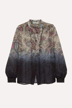 Etro Dégradé Paisley-print Fil Coupé Silk-blend Chiffon Blouse - Beige