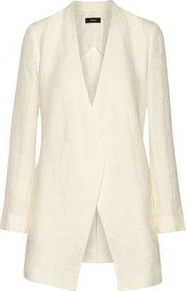 Theory - Winola Draped Linen Blazer - Ivory $475 thestylecure.com