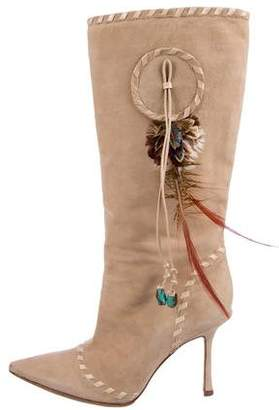 Jimmy Choo Embellished Suede Mid-Calf Boots