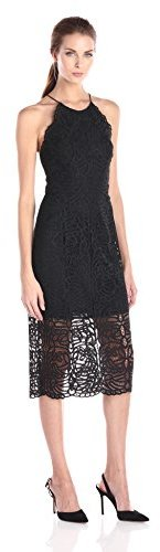 Cynthia Rowley Women's Black Lace Dress with Halter Tie