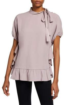 RED Valentino Tie-Neck Short-Sleeve Blouse with Ruffles