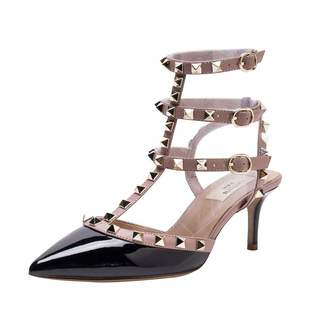96cb7d5536a Kaitlyn Pan Pointed Toe Studded Strappy Slingback Kitten Heel Leather Pumps  Sandals