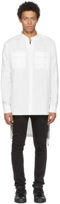 Balmain White Long Military Shirt