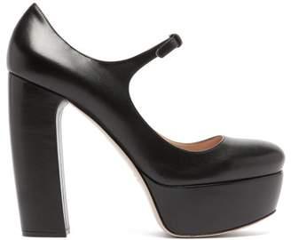 Miu Miu Platform Leather Mary Jane Pumps - Womens - Black