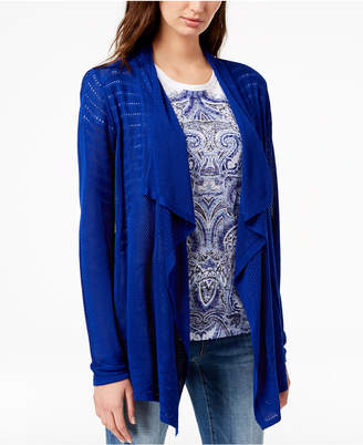 INC International Concepts I.n.c. Draped Perforated Cardigan, Created for Macy's