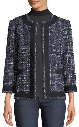Misook Plus Size Tweed Knit Jacket w/ Border Trim
