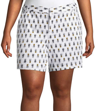 Boutique + + 7 Pineapple Print Twill Shorts - Plus