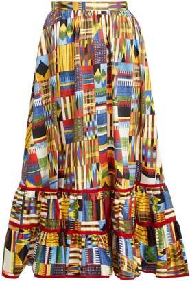 Stella Jean Ikat-print ruffled-hem cotton-blend midi skirt
