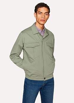 Paul Smith Men's Light Green Cotton Patch-Pocket Jacket