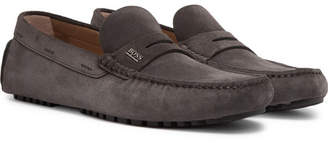 HUGO BOSS Suede Driving Shoes - Men - Gray