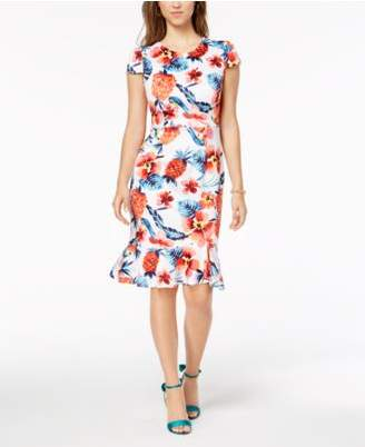 Betsey Johnson Ruffled-Hem Bodycon Dress