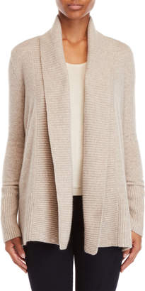 Vertical Design Cashmere Ribbed Front Open Cardigan