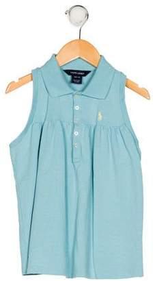 Ralph Lauren Girls' Sleeveless Collar Top