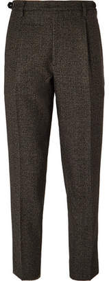 Brown Tapered Cropped Puppytooth Wool Suit Trousers