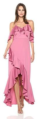 Nicole Miller Women's Spaghetti Strap Ruffle High-Low Gown