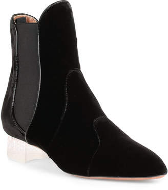 Alaia Black velvet plexi ankle boot