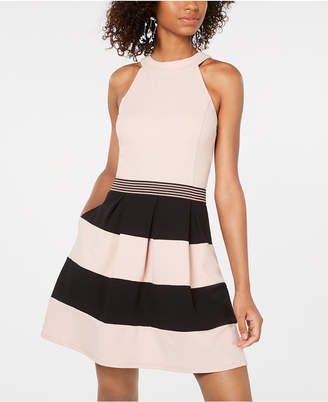 Speechless Juniors' Sleeveless Colorblock Fit & Flare Dress