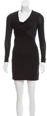Helmut Lang Gathered Long Sleeve Dress