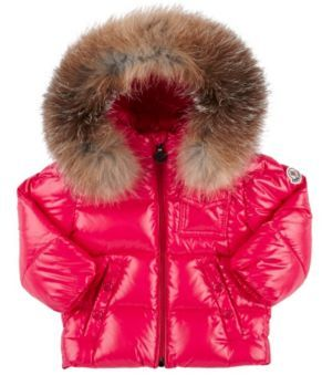 Moncler Fur-Trimmed Down-Quilted Coat-PINK $475 thestylecure.com