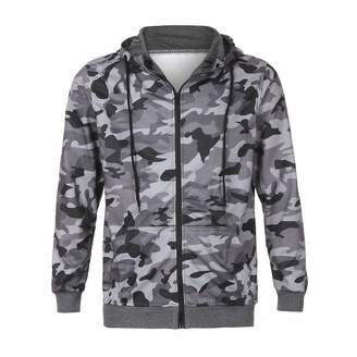 Theshy-men blouse Theshy Men's Autumn Camouflage Zipper Hooded Sweatshirt Outwear Tops Blouse GY/XL