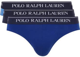 Polo Ralph Lauren Three-pack Stretch-cotton Briefs - Blue