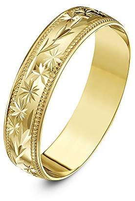 Theia Heavy Weight 5 mm D Shape with Centre Stars, Leaves Design and Millgrain Edges 9 ct Gold Wedding Ring