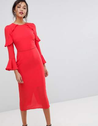 Oasis Fluted Sleeve Frill Detail Midi Dress