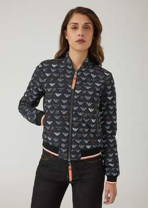 Emporio Armani Padded Blouson With All-Over Logo Pattern