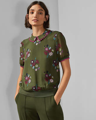 Ted Baker CLEISS Scallop trim collared top