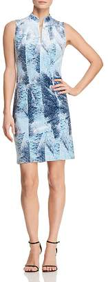 T Tahari Aberdeena Feather-Print Velvet Sheath Dress