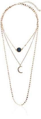Panacea Women's Navy Drusy Moon Charm Layered Strand Necklace