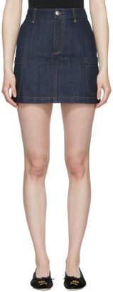 ALEXACHUNG Indigo Denim Patch Pocket Miniskirt