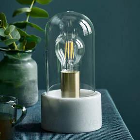 Edle Marmor-Tischleuchte Siv mit Glaskuppel