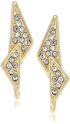 "Rebecca Minkoff Caged Stud"" Gold Crystal Pave Double Triangle Earrings"