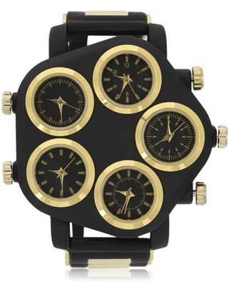faceto Men's Wristwatch Five Large Dial Street Punk Hip-Hop Cool Personality Rubber Strap Man Watch