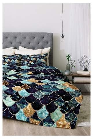 Blue Monika Strigel Really Mermaid Comforter Set