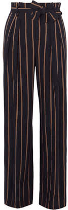 Vince Belted Striped Crepe Wide-leg Pants - Navy