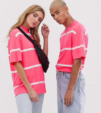 Collusion COLLUSION Unisex neon stripe t-shirt in pink