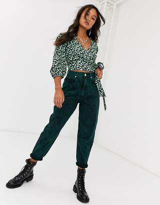 Asos Design DESIGN Balloon leg boyfriend jeans in green acid wash