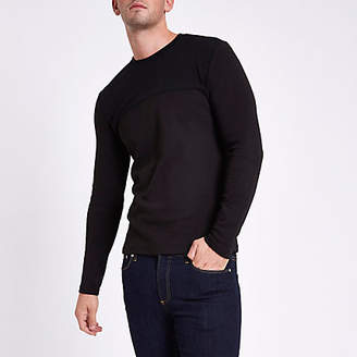 River Island Black slim fit textured crew neck sweater